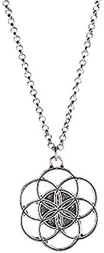 YOUZYHG co.,ltd Collar de Oro Hueco Mandala Flor de la Vida Collares Pendientes Yoga geometría Sagrada Collares para Mujeres joyería Regalos Disponibles