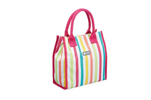Kitchen Craft CMMSTRHAND Coolmovers Tote Cool Bag, 4 litres (Small) -Multi-Colour Stripes, 27 x 26,8 x 5,6 cm
