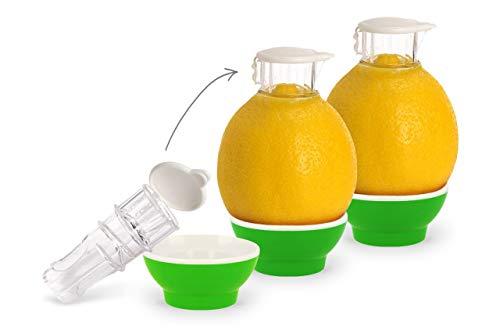 Patent-Safti 3 x Grün Entsafter I Der Originale Safti Ausgießer für Zitronen, Orangen etc. I Einfacher als Jede Zitronenpresse oder Saftpresse I BPA frei,3 x Grün