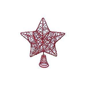 YUNA Puntale Stella Glitter Albero Vari Colori (Rosso, 33)