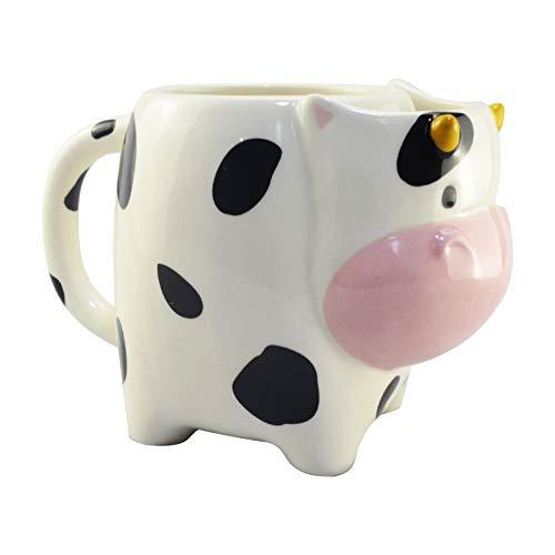 UMI. Essentials 480ml Trinkbecher Tasse aus Keramik mit 3D Kuhe, lusitge Tasse