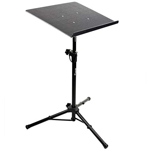 RockJam RJLP3 Heavy Duty Projector Stand Laptop Stand or Temporary Standing Desk with Tripod Body and Textured Plate