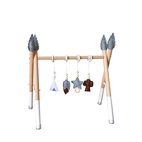 HB.YE Babyspielzeug aus Holz,Aktivcenter mit höhenverstellbaren Spiel-und Greiftrainer,Anhänger Baby-Fitness-Spielzeug (C-17)