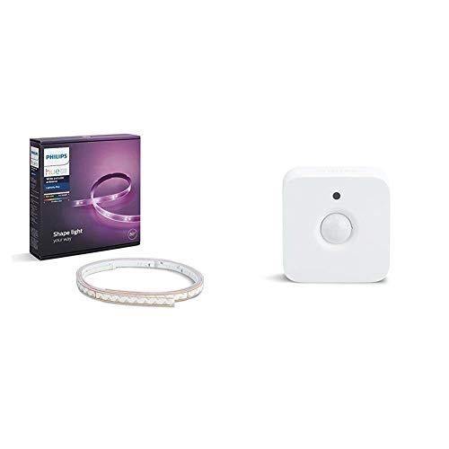 Philips Hue White and Color Ambiance - Lightstrip Plus, tira LED de 2 metros con enchufe y sensor de movimiento incluido, iluminación inteligente, compatible con Apple HomeKit y Google Home