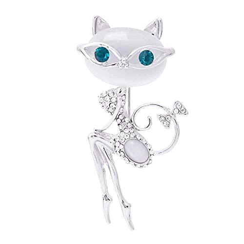 ROTOOY Broche de ópalo Gato con Gafas de Sol Mujer Sexy Lindo Gato Pin y Broche Accesorios de Boda