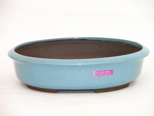 CERTRE Vaso Bonsai Ovale 6001 in gres - cm.25x19 h.8 - Colore Azzurro Cielo Smaltato