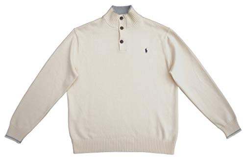 Ralph Lauren Pullover Troyer Button MN Cashlike Beige Chic Cream