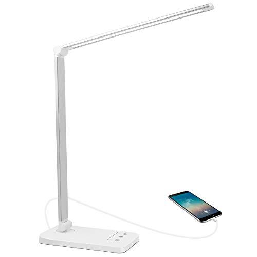 AUELEK Lámpara Escritorio LED, Lámparas de Mesa USB Recargable con Temporizador 5 * 10 Modos de Brillo, 52 SMD Leds, 2000mAh Flexo Escritorio Luz con Diseño Giratorio/Control Táctil (Plata)