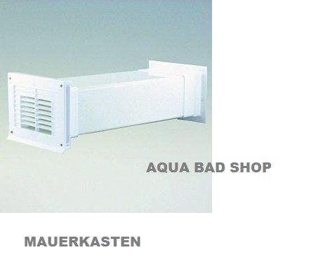 Quellmalz ABLUFT-TECHNIK Ab-und Zuluft-Mauerkasten Flachanschluss, mit Rückstauklappe für Abluft, Mauerdurchbruch 200 x 130 mm, Länge von 350 bis 500 mm, Mauerkasten Weiß, Außengitter in der Farbe weiß-passend zu ø 125