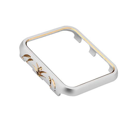 Hemobllo Custodia Protettiva in Metallo per Apple Watch Compatibile 3 e 2 42mm (Argento e Oro)