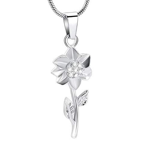Collar conmemorativo con Colgante de Recuerdo de Flor con Incrustaciones de Cristal Brillante para Mujer, joyería de Cenizas humanas/Mascotas de Amor de Acero Inoxidable