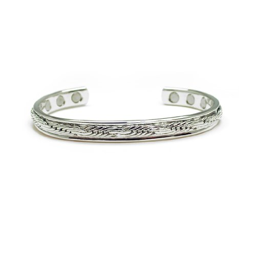 Accents Kingdom Magnetic Copper Therapy Arthritis Relief Golf Cuff Bangle Bracelet, Silver Plated Rope
