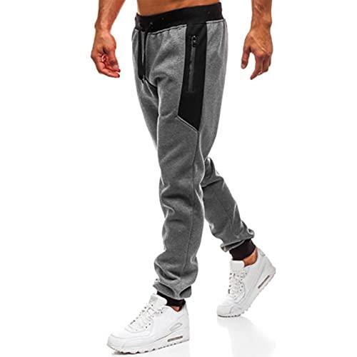 WXZZ Jogginghose Herren Lang mit Reißverschluss Tasche | Sweathose aus Baumwollmischung | Gemütliche Sporthose mit Rippstrickbündchen | Freizeit Kordelzug Trainingshose