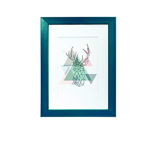 Artepoint Holz Bilderrahmen Natur mit weißem Passepartout Querformat und Hochformat zum Aufhängen Rahmen KIEFERNHOLZ Farbe: Türkis - Format 50x70