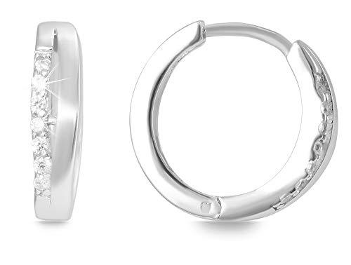 Giulia Luna Damen – Creolen 925er Silber rhodiniert Ohrringe Strass GL5200061