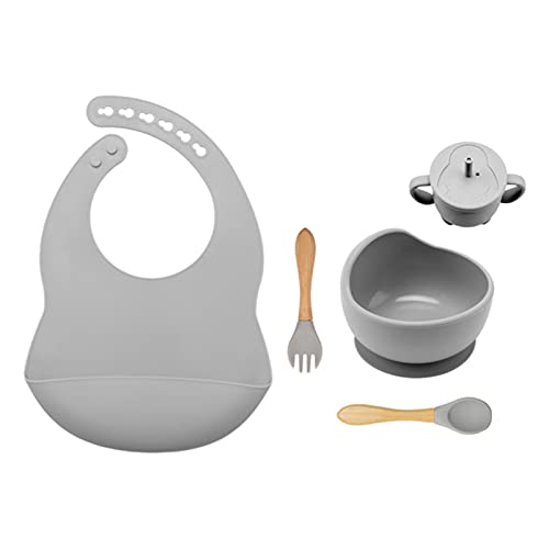 WXDC 6 PCS/Set Baby Feeding Tableware Set, BPA Free Food Grade Silicone Bowl, Bib, Placemat, Fork, Spoon And Feeding Cup Set