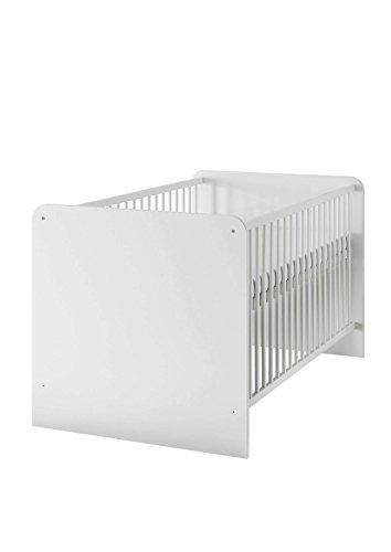AVANTI TRENDSTORE - Bimbi - Babybett fürs Kinderzimmer, mit 3-fach höhenverstellbarem Lattenrost inklusive, aus Holzdekor in weiß, ohne Vorhang, Maße: BHT 144x80x82cm