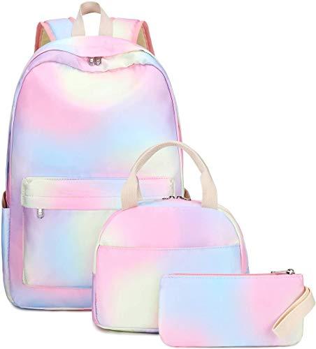 Mochila escolar Rainbow para niñas y mujeres, impermeable, ligera, bolsa de escuela, 3 en 1, con fiambrera y estuche para lápices, bolsa de viaje colorida Multicolor arcoíris 43x30x15CM