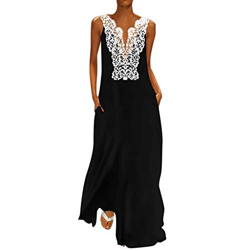 Lulupi Maxikleider Damen Langärmliges, 2019 Kleid Große Größen Casual Leinen Kleid Langes Baumwolle Maxi Dress