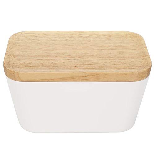 Butterdose mit Holzdeckel,225/400 Gramm Butterbox,Multifunktions-Frischkäse-Aufbewahrungsschale Behälter für Kühlschrank(400 grams)