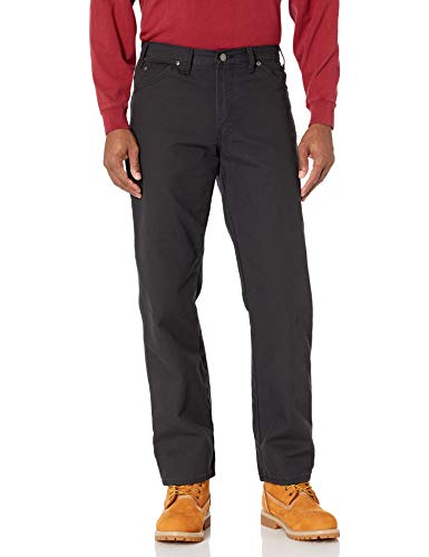 Dickies Men's Relaxed Fit Straight-Leg Duck Carpenter Jean, Black, 32W x 32L