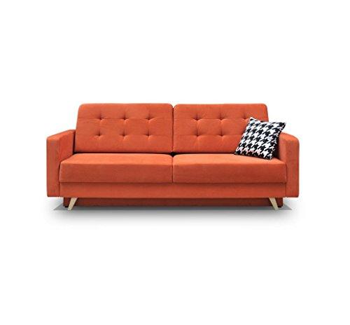 Canapé convertible 3 places Orange Tissu Design Confort