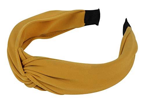axy HR34b Stoff Haarreif mit Knoten - Vintage - Wunderschön Stirnband Haarschmuck (Stil A - Gelb)