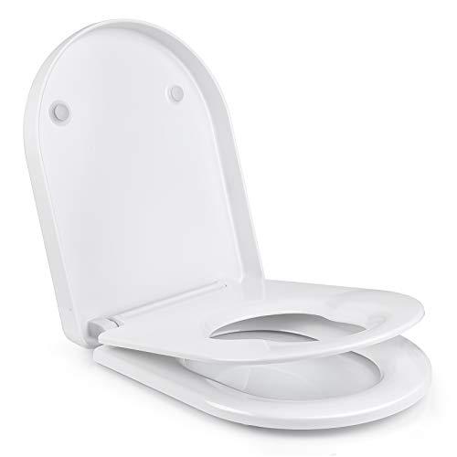 Homfa WC Sitz Familien Toilettendeckel Kinder Absenkautomatik Klodeckel mit integriertem Kindersitz Toilettensitz D-Form