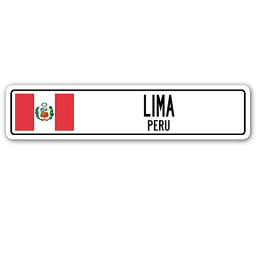 TNND New Lima Peru Straßenschild, Peruanische Flagge, Stadt Land Straße, Straßenschild, 10,2 x 40,6 cm