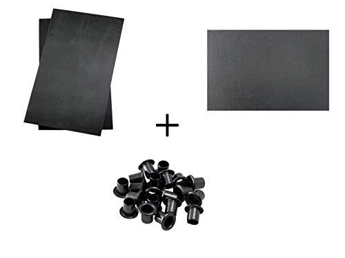 BiMordiscos Pack für Kydex-Hüllen: Kydex Platte Schwarz von 1,8 mm, 2 Bögen Formmaterial (Eva Rubber) und 20 Ösen/Nieten in Schwarz aus Elastischem Teflon (6mm)