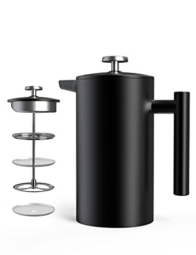 Hom Geek Kaffeekanne, French Press 1 Liter/8 Tassen, Doppelwandige Isolierte Kaffeebereiter, Handfilter Kaffeepresse mit Plunger aus Edelstahl 304 und Zusätzlicher Ersatzfilter, Schwarz