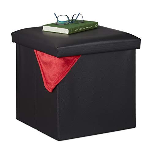 Relaxdays Hocker mit Stauraum, Kunstleder, Schaumstoff Polster, Deckel, faltbar, Sitzwürfel HBT 38 x 38 x 38 cm, schwarz, 1 Stück