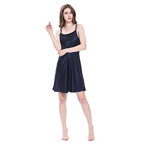 LilySilk Bezaubernd Seide Nachthemd Nachtkleid Nachtwäsche Damen Mini Kurz 16 Momme Navy Blau M Verpackung MEHRWEG