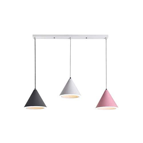 DKORP Luz de Techo Colgante de luz nórdica, Creativo de la lámpara de Tres Jefe Comedor Dormitorio Pasillo Sala Cocina Cafe Ajustable del Accesorio del Techo Decorativo de la lámpara