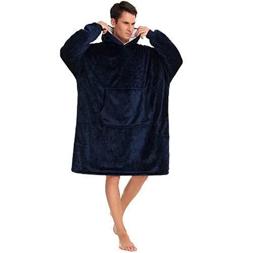 YEPLINS Kuschelpullover Herren Oversize,Sherpa Hoodie Sweatshirt Decke Erwachsene ,Übergroße Blanket Hoodie Men Pulli Herren (Blau)