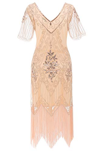 Radtengle Women's 1920s Flapper Dress Beaded Fringed Gatsby Dress with Short Sleeves for Roaring 20s Party Rose Gold