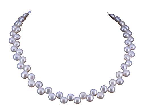 NicoWerk Damen Perlenkette Rund 7mm Collier aus 925 Sterling Silber Weiß Doppelreihig Hochzeit Brautschmuck Echte Perlen Zuchtperlen PKE130