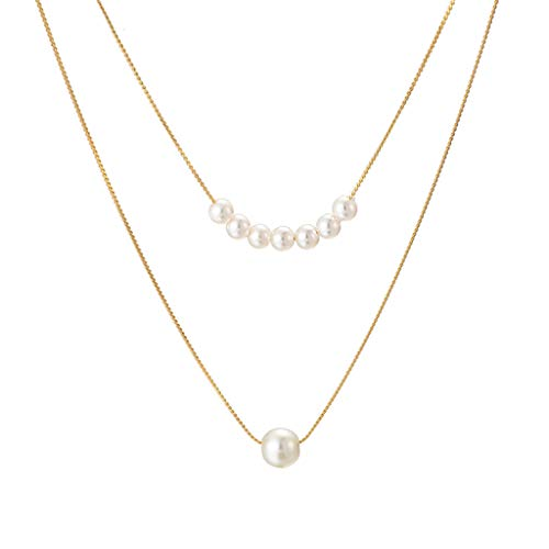 Smoxx Korean Fashion Elongated Pearl Necklace, Simple Thin Knotted Chain Size,Double Layer Clavicle Chain Jewelry for Girlfriend