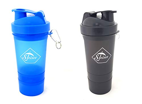 Set of 2 Protein Shaker with Powder Storage Compartment