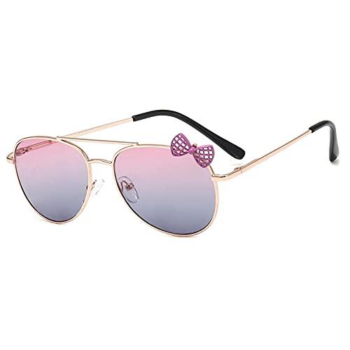 SONGQ Gafas de sol de lazo lindo de moda para niños dorado-rosa azul