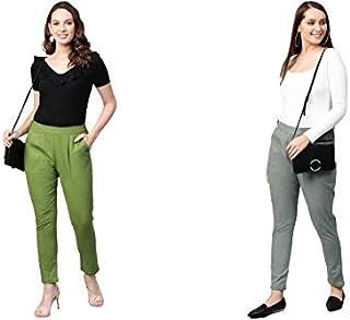 SANVIYA Women's Cotton Slub Solid Regular Fit Casual Trouser Pants Combo(Pack of 2)