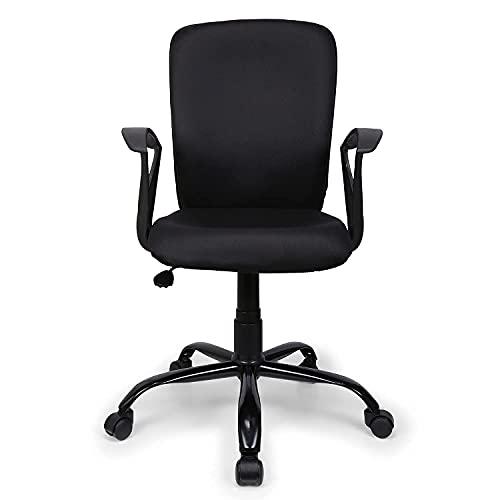 FURNICOM CHAIRS™ Armo Mid Back Ergonomic Office Computer Study Chair Fabric Metal Base (Black)