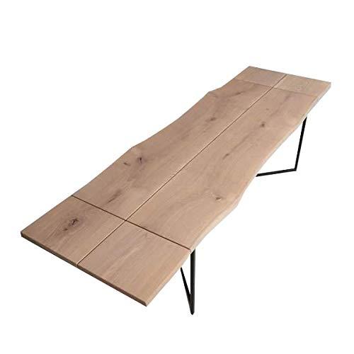 CosyWood Table de salle à manger extensible en bois de chêne massif de style rustique industriel (180-240 x 80 x 75 cm)