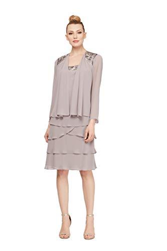 SL Fashions Women's Embellished Tiered Sequin Jacket Dress (Petite and Regular), Dark Mortar, 12