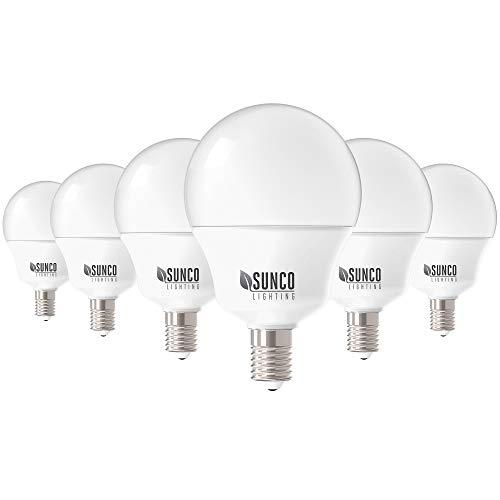 Sunco Lighting Paquete de 6 bombillas LED G14, 5 W = 40 W, foco candelabro, 450 lm, 3000 K, blanco cálido, base de rosca Edison...