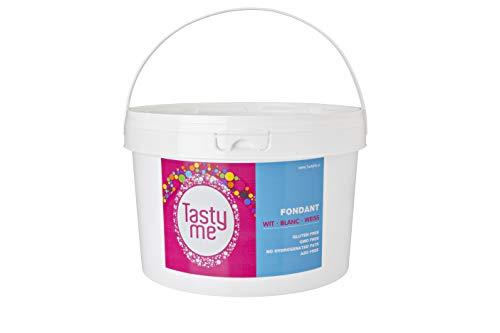 Fondant wit 2,5kg emmer-Rolfondant 2,5kg. Suikerpasta , Fondant en marsepein .Voor bakken en taart ook gluten vrij.