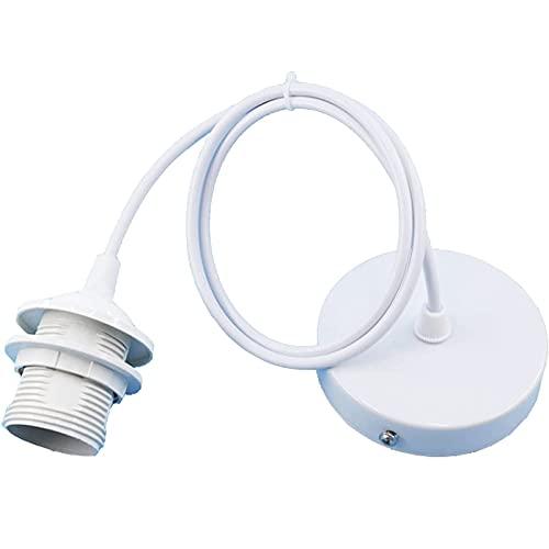 Soporte de Lámpara de Techo, E27 Portalámpara de Metal, Portalámparas colgante de metal Con Cable, Adecuado Para Colgar Lámparas Pequeñas (Blanco, 1 m)