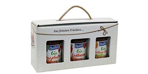 Geschenk/Geschenkset/Geschenkbox Bio-Fruchtaufstriche, 3 x 225/210 g (Hagebutte/Erdbeere/Aprikose-Mango)