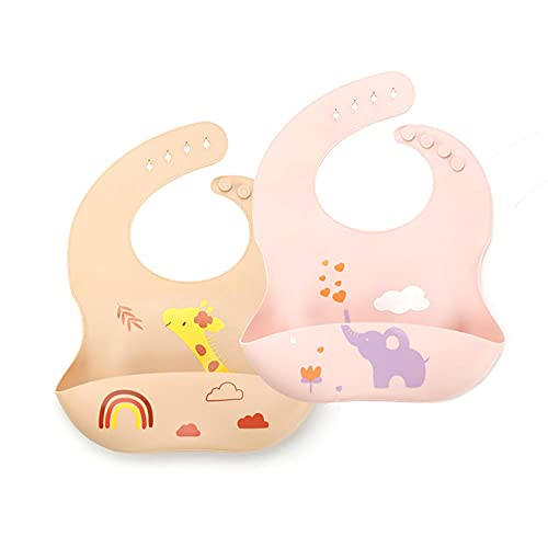 TYCX Babero de Silicona de alimentación de Silicona Bibs a Prueba de Agua, limpie fácilmente con un Bolsillo de Cazador de Alimentos amplios, Conjunto de 2 para bebés y niños pequeños-C_30 × 19 cm