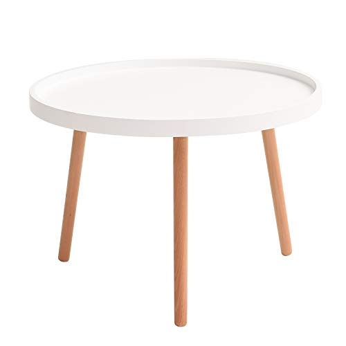 IBUYKE Coffee Table, MDF Panels and Beech Legs End Tables, Modern Furniture Decor Round Side Table...
